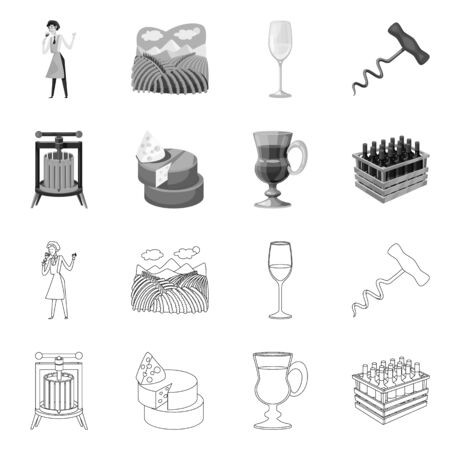 Vector illustration of farm and vineyard. Collection of farm and product stock symbol for web.