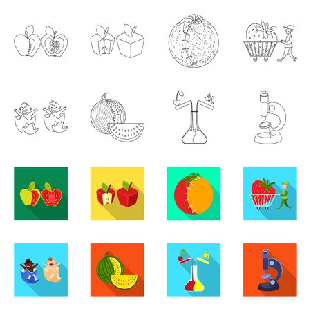Vector illustration of test and synthetic. Set of test and laboratory vector icon for stock.