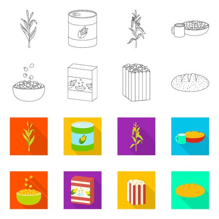 Vector design of cornfield and vegetable sign. Set of cornfield and vegetarian stock vector illustration. 일러스트