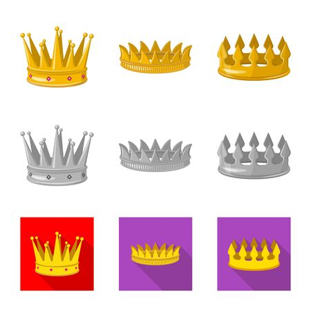Vector design of medieval and nobility icon. Collection of medieval and monarchy stock vector illustration. Ilustração