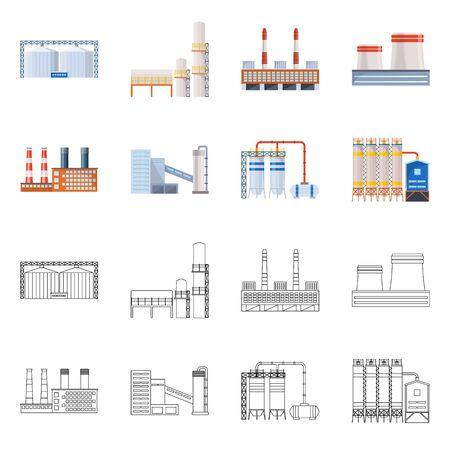 Vektor-Illustration der Produktions- und Strukturikone. Satz von Produktions- und Technologievorrat-Vektorillustration.