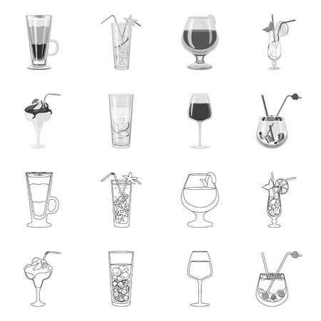 Vector design of liquor and restaurant icon. Collection of liquor and ingredient stock vector illustration. Stock Illustratie