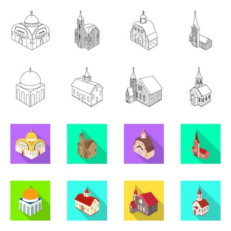 Isolated object of temple and historic sign. Set of temple and faith vector icon for stock.
