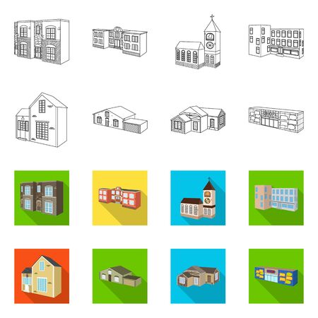 Isolated object of facade and housing icon. Set of facade and infrastructure stock vector illustration. Çizim
