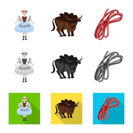 Isolated object of traditional and tour symbol. Set of traditional and landmarks vector icon for stock. Фото со стока - 129228500