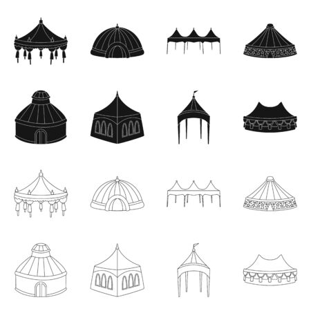 Vector illustration of roof and folding symbol. Collection of roof and architecture vector icon for stock.