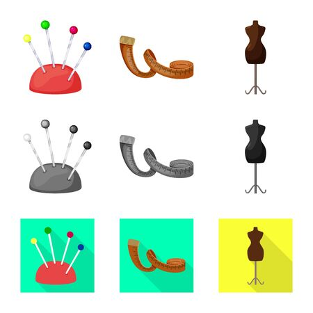 Isolated object of craft and handcraft. Collection of craft and industry vector icon for stock. Stock Illustratie