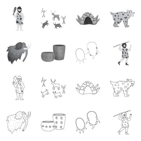 Vector design of evolution and neolithic. Collection of evolution and primeval vector icon for stock.