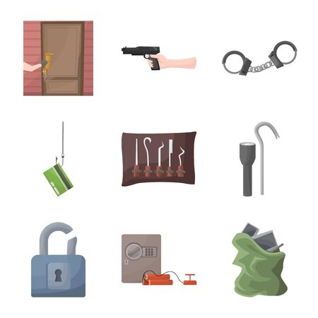 Isolated object of criminal and police symbol. Collection of criminal and robbery vector icon for stock. Foto de archivo - 129228557