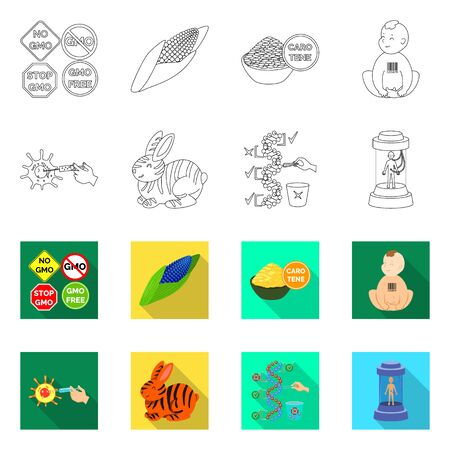 Vector design of test and synthetic icon. Set of test and laboratory stock vector illustration.
