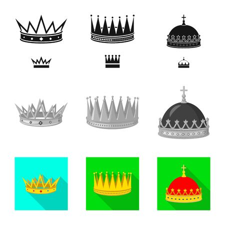 Vector design of medieval and nobility sign. Set of medieval and monarchy stock symbol for web.