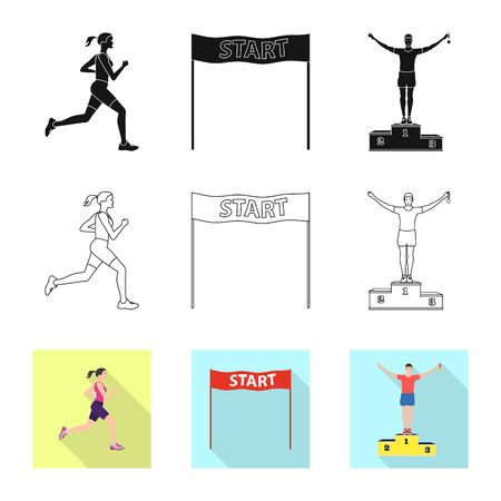 Vector illustration of sport and winner icon. Collection of sport and fitness stock symbol for web. Standard-Bild - 129228682