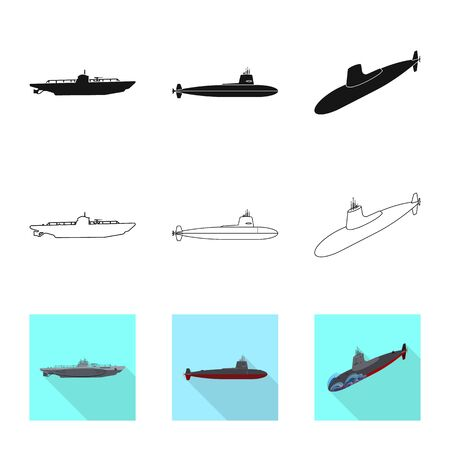 Vector design of war and ship. Collection of war and fleet vector icon for stock. Ilustracja