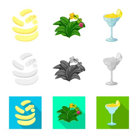 Isolated object of natural and vegetarian icon. Set of natural and eating stock symbol for web.