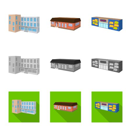 Vector design of facade and housing. Set of facade and infrastructure stock symbol for web. Иллюстрация
