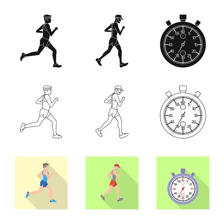 Vector design of sport and winner. Set of sport and fitness vector icon for stock. 向量圖像