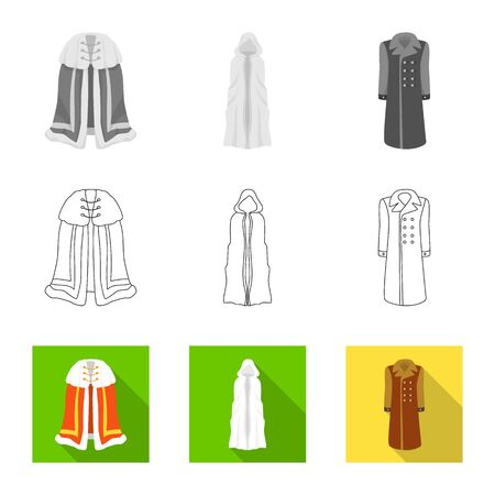 Vector illustration of material and clothing. Collection of material and garment vector icon for stock.