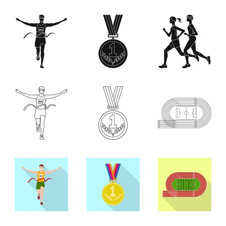Vector design of sport and winner symbol. Set of sport and fitness stock vector illustration.