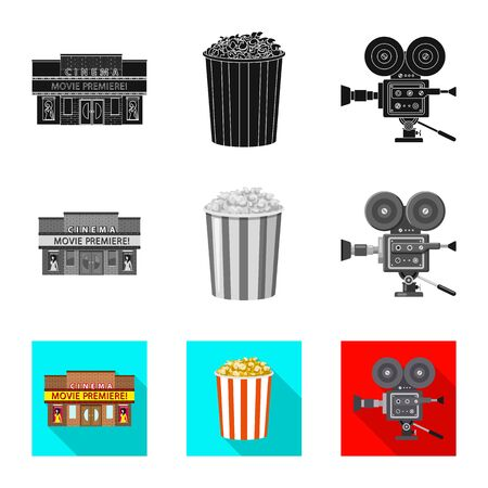 Vector design of television and filming symbol. Set of television and viewing stock symbol for web. Ilustração