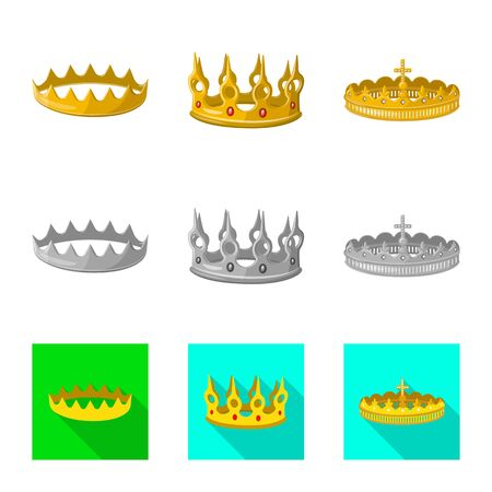 Vector design of medieval and nobility icon. Set of medieval and monarchy stock vector illustration.