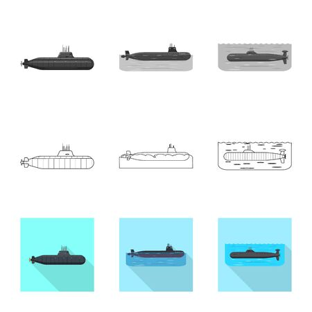 Vector design of war and ship sign. Collection of war and fleet stock symbol for web. Ilustracja