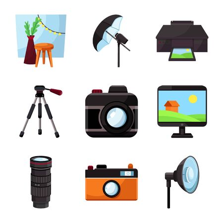 Isolated object of studio and photo. Set of studio and equipment vector icon for stock.
