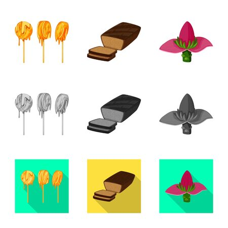Isolated object of natural and vegetarian sign. Set of natural and eating vector icon for stock.