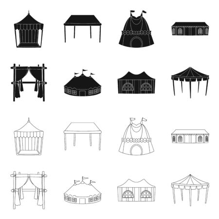 Vector design of roof and folding icon. Collection of roof and architecture vector icon for stock.