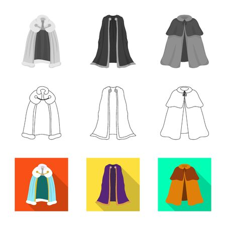 Vector illustration of material and clothing icon. Collection of material and garment vector icon for stock. Çizim