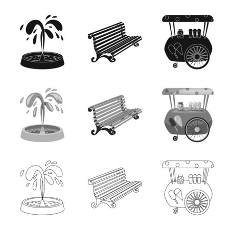 Vector design of urban and street symbol. Set of urban and relaxation stock symbol for web. 写真素材 - 129229542