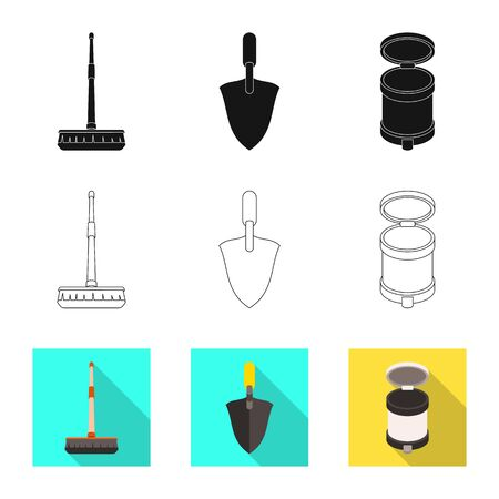 Vector design of cleanup and household icon. Set of cleanup and washing stock symbol for web. Иллюстрация