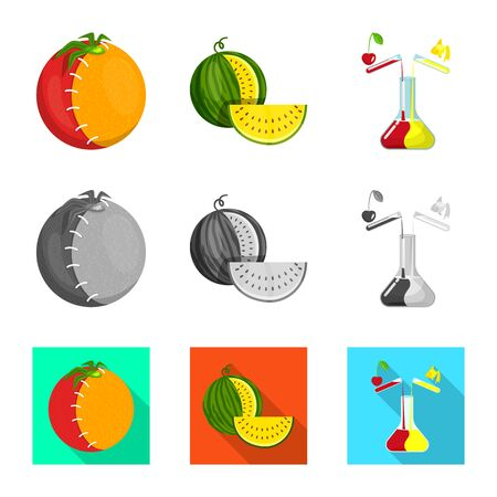 Isolated object of test and synthetic icon. Set of test and laboratory vector icon for stock. Çizim