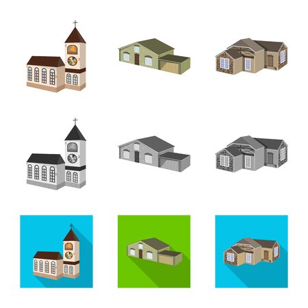 Vector illustration of facade and housing symbol. Set of facade and infrastructure stock symbol for web.