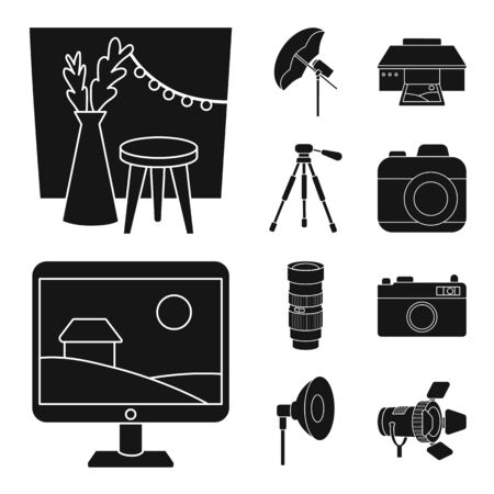 Isolated object of business and hobbies sign. Set of business and photo stock vector illustration.