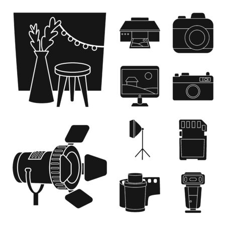 Isolated object of business and hobbies sign. Set of business and photo vector icon for stock. Stock Illustratie