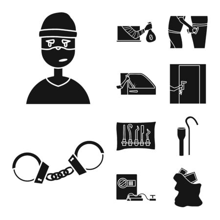 Vector design of robber and villain sign. Collection of robber and police stock symbol for web. Imagens - 129229513
