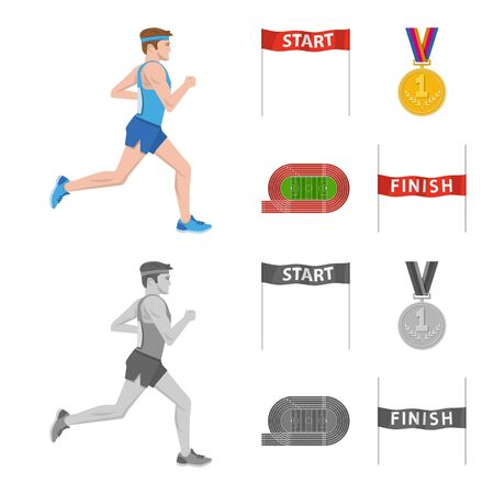 Isolated object of sport and winner sign. Set of sport and fitness vector icon for stock.  イラスト・ベクター素材