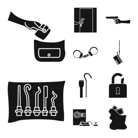 Isolated object of robber and villain symbol. Collection of robber and police vector icon for stock.