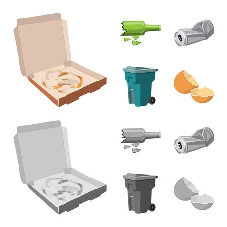 Vector design of refuse and junk. Collection of refuse and waste stock vector illustration.