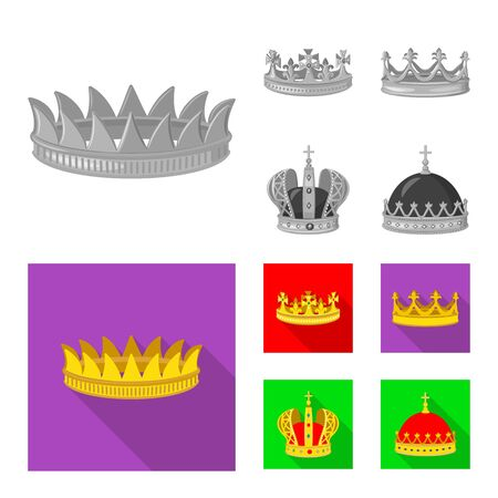 Vector design of medieval and nobility sign. Set of medieval and monarchy stock symbol for web. Stockfoto - 129229314