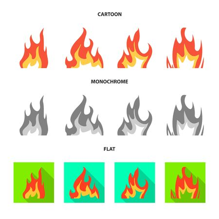 Vector design of bright and dangerous symbol. Collection of bright and wildfire vector icon for stock. 版權商用圖片 - 129229319