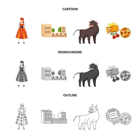 Isolated object of and historic. Collection of and country stock vector illustration. Illustration