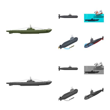 Isolated object of war and ship icon. Collection of war and fleet vector icon for stock.