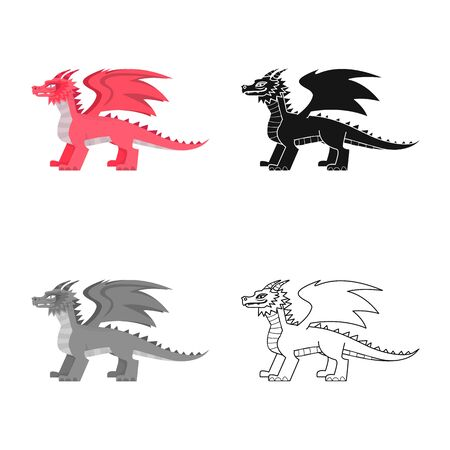 Isolated object of dragon and fantasy icon. Collection of dragon and red stock symbol for web. Stockfoto - 129229340