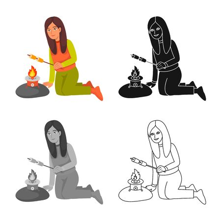 Isolated object of girl and campfire sign. Collection of girl and fire vector icon for stock.