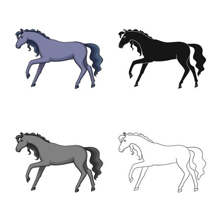 Vector illustration of horse and hippodrome icon. Collection of horse and horseback stock symbol for web.