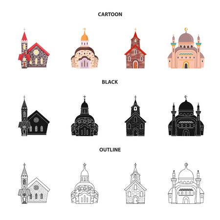 Isolated object of cult and temple icon. Collection of cult and parish stock vector illustration. Imagens - 129228981