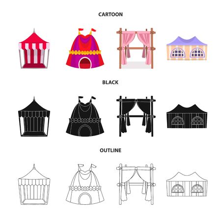 Vector illustration of roof and folding. Set of roof and architecture stock symbol for web. Ilustração