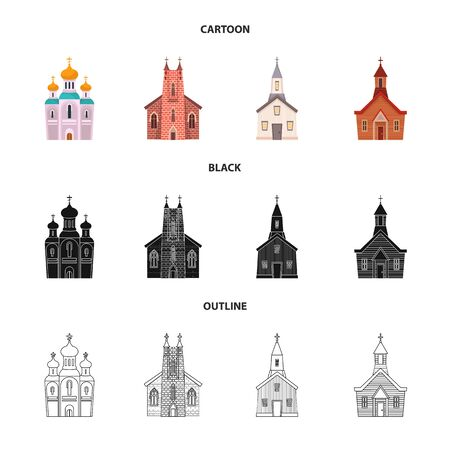 Isolated object of cult and temple sign. Collection of cult and parish stock vector illustration. Illustration