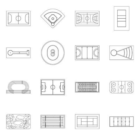Vector illustration of plan and sport symbol. Collection of plan and game stock symbol for web. 일러스트